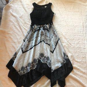 Sangria black & white handkerchief halter dress